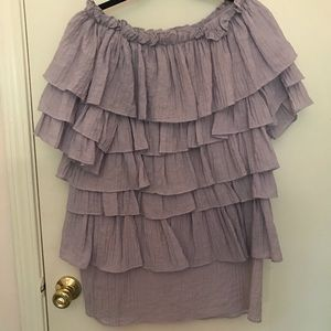 Off the Shoulder Lavender layered Dress
